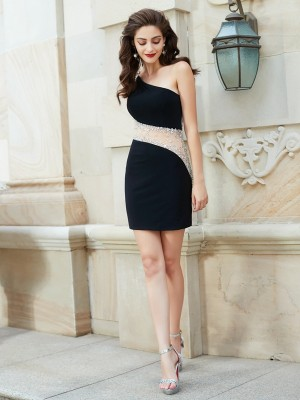 Sheath/Column One-Shoulder Sleeveless Short/Mini Net Dresses with Beading