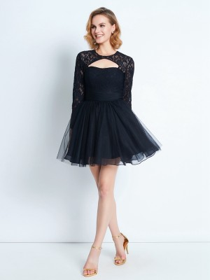 A-Line/Princess High Neck Long Sleeves Short/Mini Net Dresses with Lace