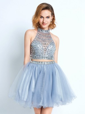 A-Line/Princess High Neck Sleeveless Short/Mini Net Dresses with Beading