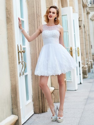 A-Line/Princess Jewel Sleeveless Short/Mini Lace Dresses with Pearls