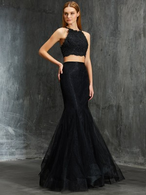 Trumpet/Mermaid Spaghetti Straps Sleeveless Floor-Length Net Dresses with Applique