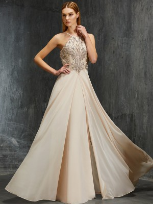 A-Line/Princess Spaghetti Straps Sleeveless Sweep/Brush Train Chiffon Dresses with Beading