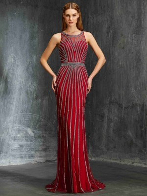 Sheath/Column Scoop Sleeveless Sweep/Brush Train Net Dresses with Beading