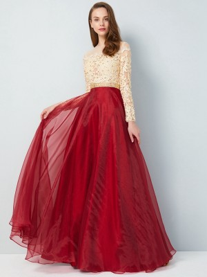 A-Line/Princess Sheer Neck Long Sleeves Floor-Length Organza Dresses with Applique