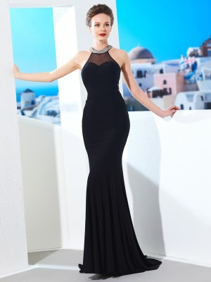 Sheath/Column Jewel Sleeveless Sweep/Brush Train Spandex Dresses with Beading
