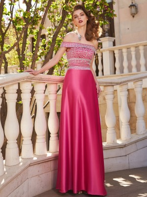 A-Line/Princess Off-the-Shoulder Sleeveless Floor-Length Satin Dresses with Beading