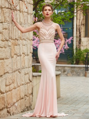 Sheath/Column Scoop Sleeveless Sweep/Brush Train Spandex Dresses with Beading