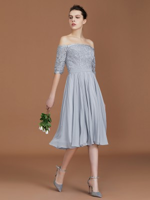 A-Line/Princess Off-the-Shoulder Short Sleeves Tea-Length Chiffon Bridesmaid Dresses with Lace