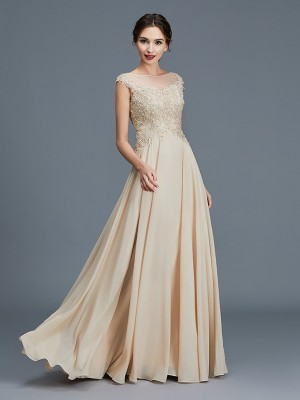 A-Line/Princess Scoop Sleeveless Floor-Length Chiffon Mother of the Bride Dresses with Ruffles