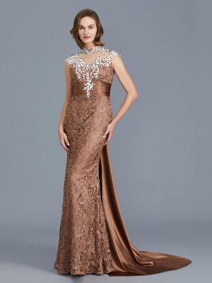 Trumpet/Mermaid Scoop Sleeveless Floor-Length Lace Mother of the Bride Dresses with Beading