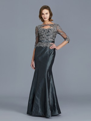 Trumpet/Mermaid Scoop 3/4 Sleeves Floor-Length Taffeta Mother of the Bride Dresses with Applique