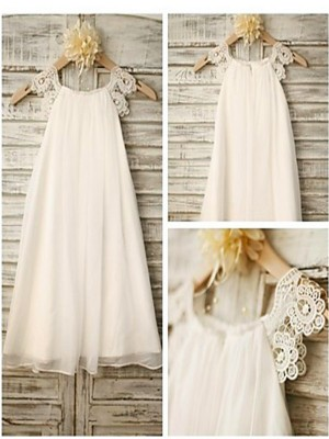 A-Line/Princess Scoop Sleeveless Ankle-Length Chiffon Flower Girl Dresses with Lace
