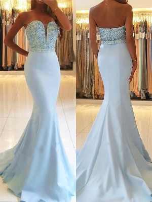 Trumpet/Mermaid Sweetheart Sleeveless Sweep/Brush Train Satin Dresses with Beading