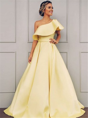 A-Line/Princess One-Shoulder Sleeveless Floor-Length Satin Dresses with Ruffles