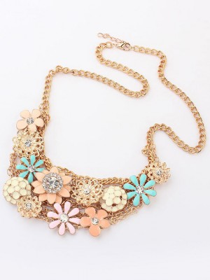 Korean version Sweet Fresh Flowers Metallic Fashion Necklace