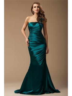 Trumpet/Mermaid One-Shoulder Sleeveless Sweep/Brush Train Elastic Woven Satin Dresses with Beading Ruffles