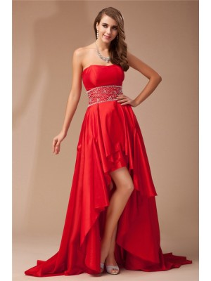 A-Line/Princess Strapless Sleeveless Asymmetrical Taffeta Dresses with Beading