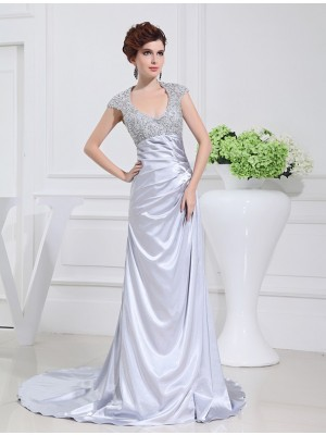A-Line/Princess Scoop Sleeveless Sweep/Brush Train Elastic Woven Satin Dresses with Beading Lace
