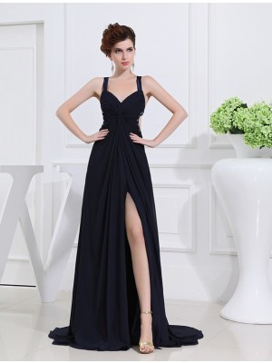A-Line/Princess V-neck Straps Sleeveless Floor-Length Chiffon Dresses with Beading