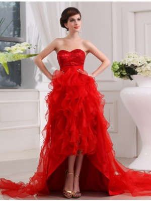A-Line/Princess Sweetheart Sleeveless Asymmetrical Organza Dresses with Sequin