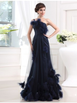 Trumpet/Mermaid One-Shoulder Sleeveless Floor-Length Satin Tulle Dresses with Feathers/Fur