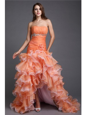 Ball Gown Strapless Sleeveless Asymmetrical Organza Dresses with Beading