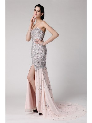 Trumpet/Mermaid Sweetheart Sleeveless Sweep/Brush Train Chiffon Dresses with Beading Rhinestone