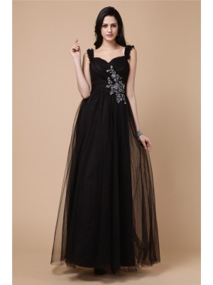 A-Line/Princess Straps Sleeveless Ankle-Length Net Dresses with Beading Applique