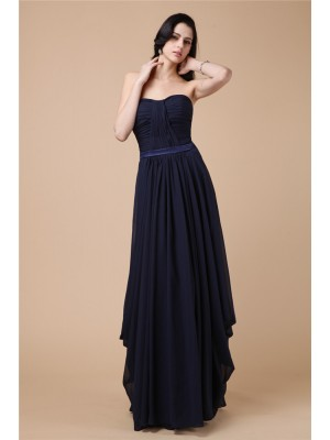 Sheath/Column Strapless Sleeveless Floor-Length Chiffon Dresses with Pleats