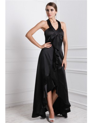 A-Line/Princess Bateau Sleeveless Asymmetrical Silk like Satin Dresses with Ruffles