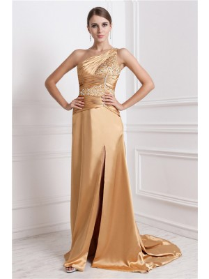 A-Line/Princess One-Shoulder Sleeveless Sweep/Brush Train Elastic Woven Satin Dresses with Beading