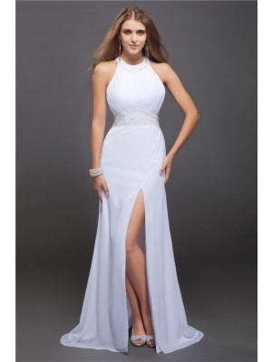 Sheath/Column Jewel Sleeveless Floor-Length Chiffon Dresses with Beading Ruffles