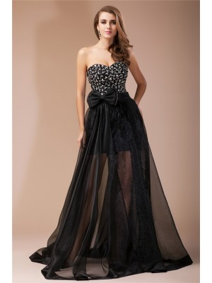 Sheath/Column Sweetheart Sleeveless Floor-Length Elastic Woven Satin Organza Dresses with Beading