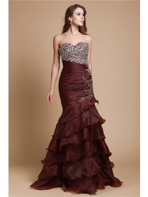 Trumpet/Mermaid Sweetheart Sleeveless Floor-Length Organza Dresses with Beading