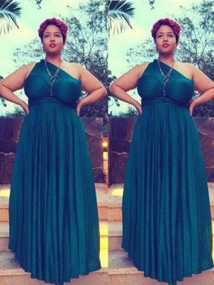 A-Line/Princess One-Shoulder Sleeveless Floor-Length Chiffon Ruched Dresses