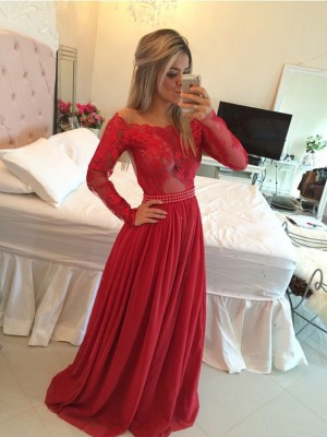 A-Line/Princess Off-the-Shoulder Long Sleeves Sweep/Brush Train Chiffon Dresses with Applique