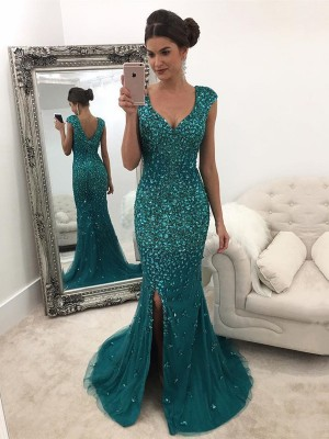 A-Line/Princess V-neck Sleeveless Sweep/Brush Train Tulle Dresses with Sequin