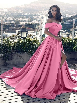 A-Line/Princess Off-the-Shoulder Sleeveless Court Train Satin Dresses with Ruffles