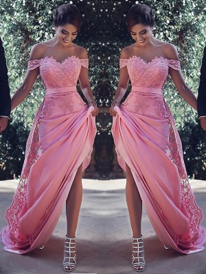 Sheath/Column Off-the-Shoulder Sleeveless Sweep/Brush Train Silk like Satin Dresses with Lace