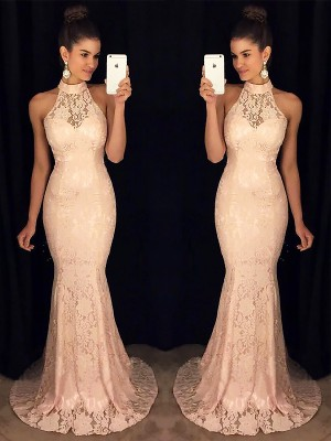 Trumpet/Mermaid High Neck Sleeveless Sweep/Brush Train Lace Dresses with Ruffles