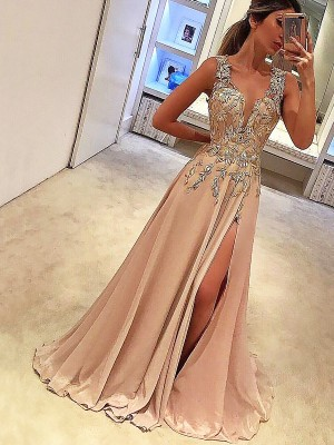 A-Line/Princess V-neck Sleeveless Floor-Length Silk like Satin Dresses with Applique