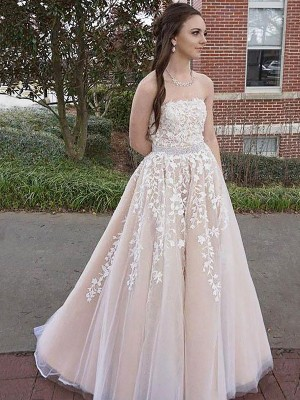 A-Line/Princess Strapless Sleeveless Floor-Length Tulle Dresses with Applique