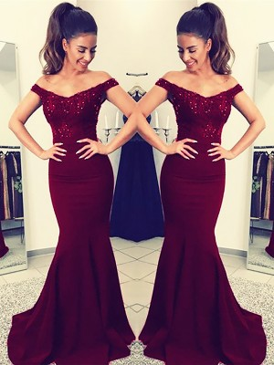 Trumpet/Mermaid Off-the-Shoulder Sleeveless Floor-Length Satin Dresses with Lace