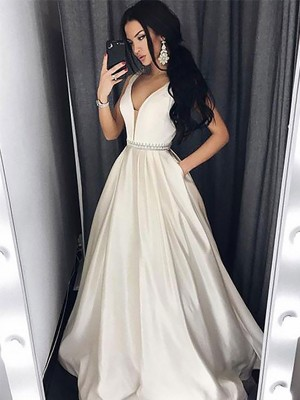 A-Line/Princess V-neck Sleeveless Sweep/Brush Train Satin Dresses with Beading