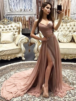 A-Line/Princess Sweetheart Sleeveless Sweep/Brush Train Chiffon Dresses with Layers