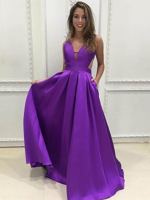 A-Line/Princess V-neck Sleeveless Sweep/Brush Train Satin Dresses with Ruffles