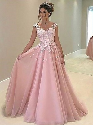 A-Line/Princess Sweetheart Sleeveless Floor-Length Tulle Dresses with Applique