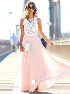 A-Line/Princess Jewel Sleeveless Floor-Length Chiffon Dresses with Lace