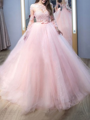 Ball Gown Jewel Long Sleeves Sweep/Brush Train Tulle Dresses with Lace
