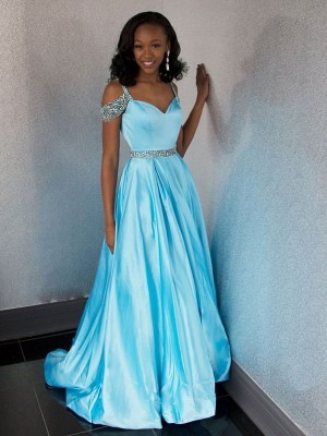 A-Line/Princess Sweetheart Sleeveless Sweep/Brush Train Satin Dresses with Beading